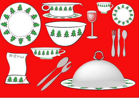 service for christmas dinner with trees decorated Vector