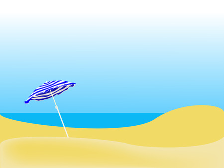 blue striped parasol on a empty beach Illustration