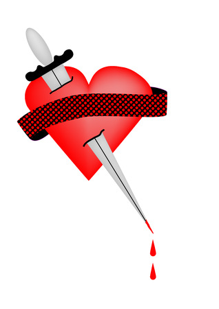 pain in the heart from the sword Vector