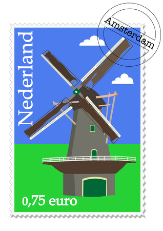 Dutch stamp with windmill from Holland Vector