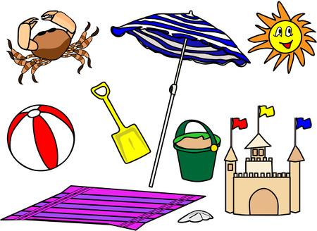 seau d eau: plusieurs articles de plage � utiliser