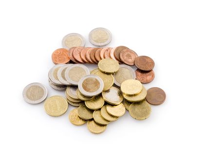 specie: many Euro coins together