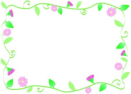 lightly: frame with green leaves and pink flowers