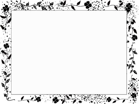 grunge black and white frame with flowers photo