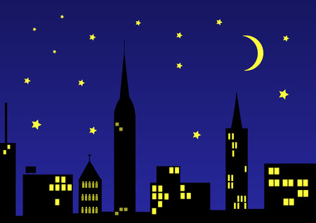 city by night with moon and stars Vector
