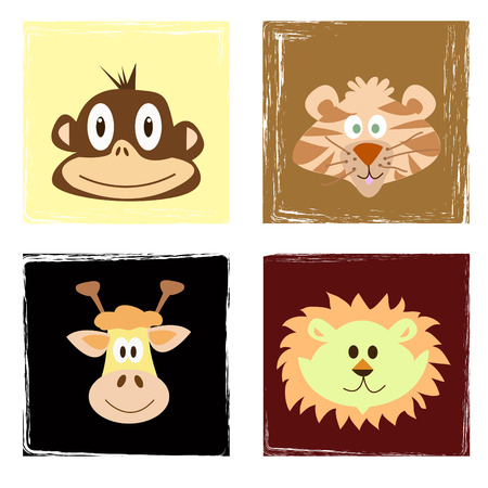 wildlife with simple monkey tiger lion and giraffe Vector