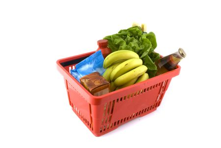 Warenkorb voller Frische-Produkte wie die tägliche Nahrung  Standard-Bild - 2393096