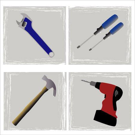 wooden work: serie di strumenti per il falegname o il idraulico