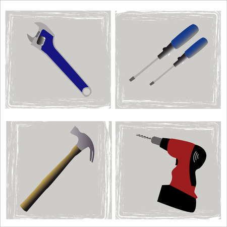 toolset for the carpenter or the plumber Vector