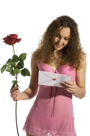 Young girl received loveletter with red rose photo