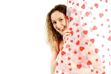 Erotic girl smiling from behind the love curtains Stock Photo - 2427895