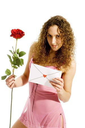a Valentine card with red rose for you Stock Photo - 2427900
