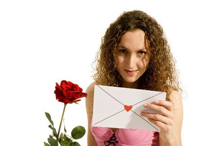 Loveletter and red rose from a lovely girl Stock Photo - 2427894