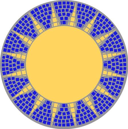 sun glass: handmaded Sun marco de mosaico  Vectores