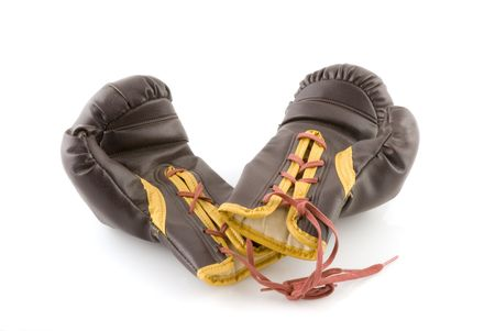 shoestring: a pair of brown leather boxing gloves