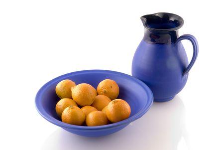 mandarins: Blue Greece crockery with mandarins