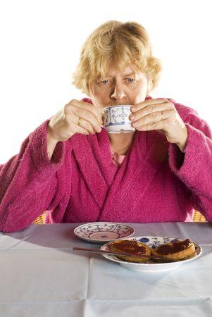 joyless: unhappy elderly woman Stock Photo