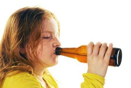 alcohol bottles: girl is drinking beer Stock Photo