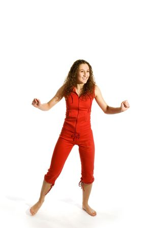 Girl in red is moving towards Stock Photo - 2503679