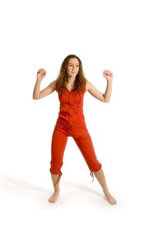 sporty girl in studio in red Stock Photo - 2503680