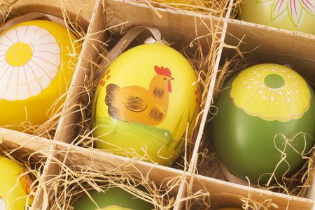 detail of a box with painted easter eggs photo