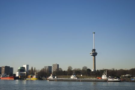 euromast: Skyline Rotterdam with euromast and canal