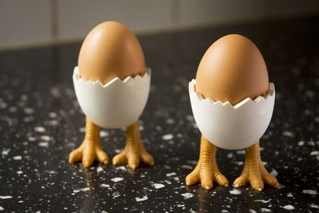 kitchensink: eggs in egg-cups with bird-feet