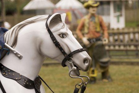 wildwest: White Horse con cowboy Archivio Fotografico