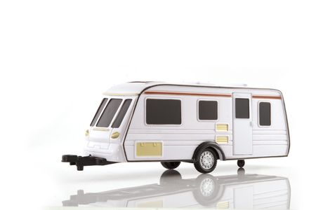 caravan for vacation at the campground Stock Photo