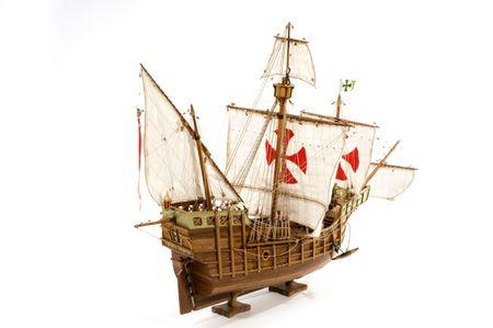 flagship: Old Galleon Santa Maria from Columbus Stock Photo