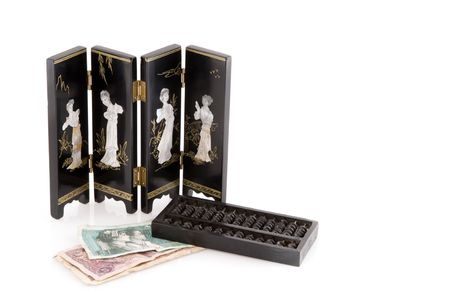 chinese culture with currency, Abacus and folding screen photo