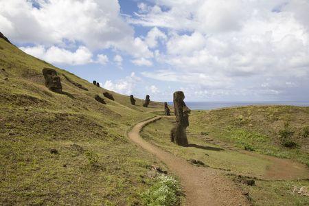 rano raraku: several mysterious statues at easter island