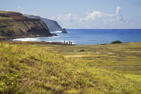 singularity: view over easter island with the row of statues Stock Photo