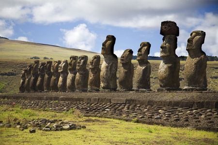 singularity: row with statues at easter island