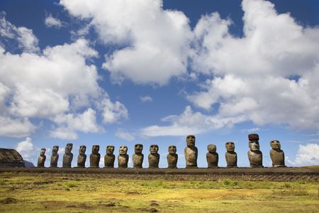 moai: fifteen moais close to sacred place Orongo