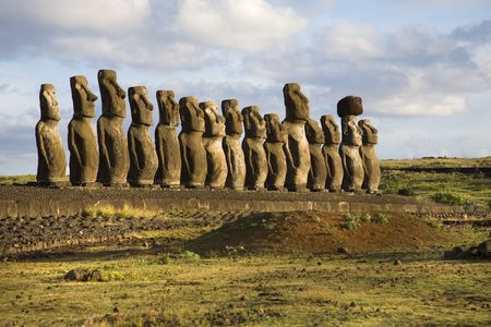 prehistorical: statues at easter island Stock Photo