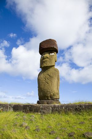volcanic stones: lonely statue at easter island Stock Photo