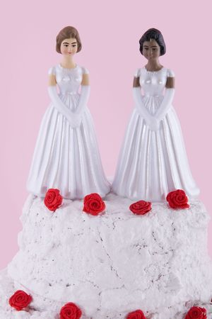 mixed marriage: two brides at a lesbian wedding day