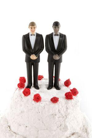 hombres gays: boda gay con dos novios  Foto de archivo