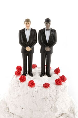 gay wedding with two grooms Stock Photo