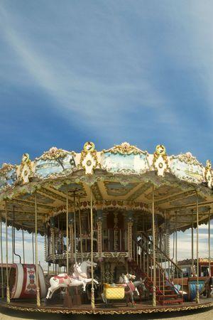 merry go round: Merry go round with horses outdoor