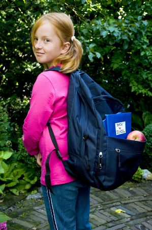 Little girl is ready for the new school year Stock Photo