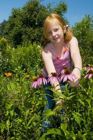 Little girl is plucking flowers in the garden photo