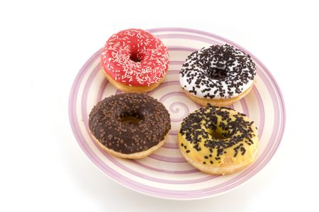 four different doughnuts photo