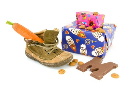 sinterklaas: Shoe and presents for Sinterklaas Stock Photo