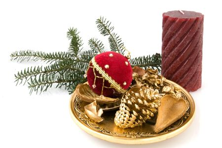 stillife: Golden christmas with candle in stillife Stock Photo