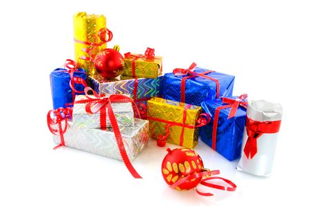 Many luxury wrapped christmas presents decorated with balls Stock Photo - 3801818