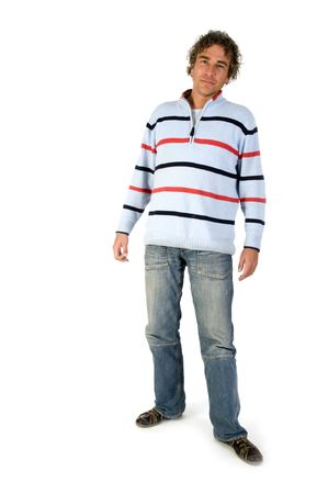 Handsome young man wiith curly hair and casual cloths Stock Photo - 3823824