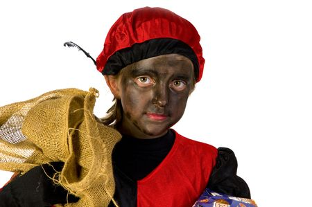 A girl is playing Black Piet from Holland Stock Photo - 3823912