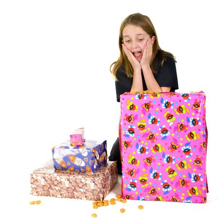 sinterklaas: Child with many presents for Sinterklaas Stock Photo